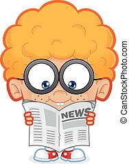 Clipart picture of a nerd boy cartoon character reading a newspaper