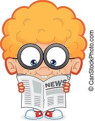 Nerd boy reading a newspaper
