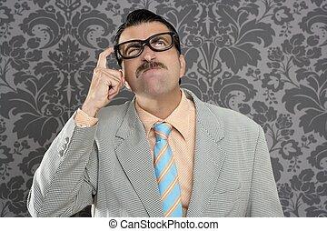 nerd businessman pensive gesture silly funny retro