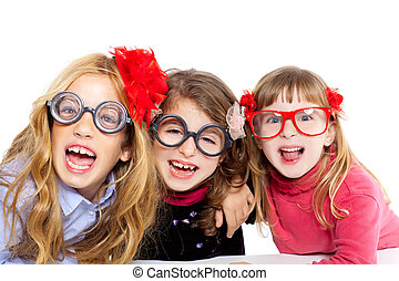 nerd children girl group with funny glasses - nerd children...