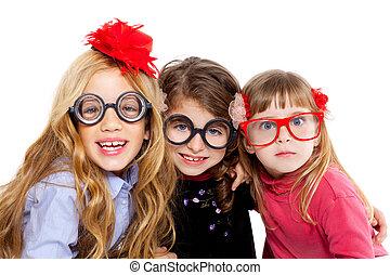 nerd children girl group with funny glasses