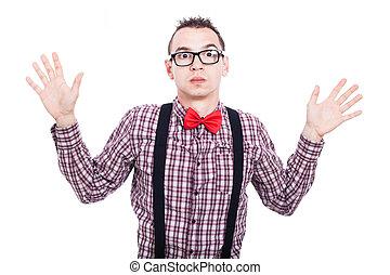 nerd, choqué, homme