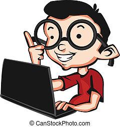 nerd, com, um, laptop