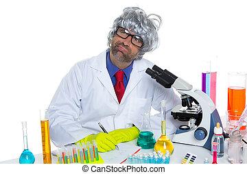 Nerd crazy scientist man portrait working at laboratory