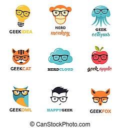 nerd, dyr, iconerne, -, symboler, hipster, geek, raffineret