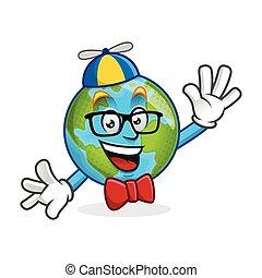 Nerd earth mascot, geek earth character, earth cartoon vector