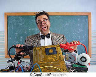 Nerd electronics technician retro silly expression
