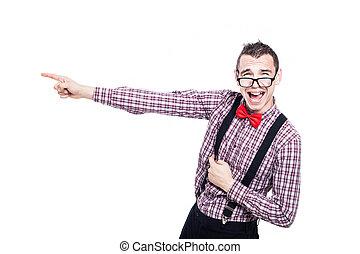 nerd, excité, pointage, homme
