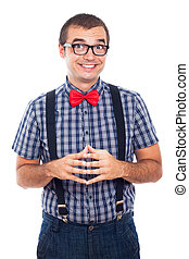 nerd, extatique, homme