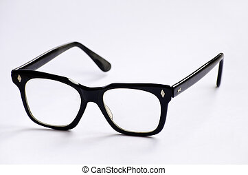 Thick black frames, geeky eyeglasses
