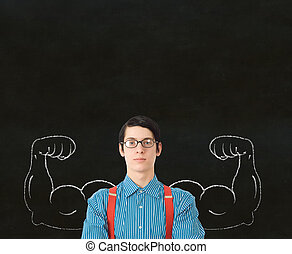 Nerd geek businessman, student or teacher with chalk healthy...