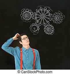 Nerd geek businessman student teacher chalk thinking gears cogs