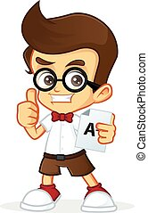 Cartoon illustration of a nerd geek