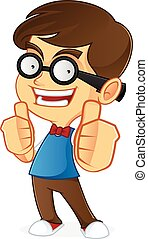 Cartoon illustration of a nerd geek isolated in white backgrund