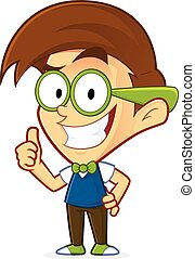 Nerd geek giving thumbs up - Clipart picture of a nerd geek...