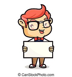 Nerd geek holding blank sign isolated in with background