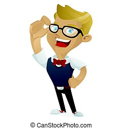 Nerd geek holding glasses