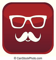Nerd glasses and mustaches icons. Red web button on white background. Vector isolated Illustration