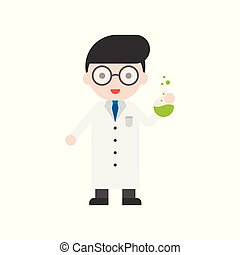 Nerd glasses Scientist and flask, Set Profession character of people in uniform, flat design