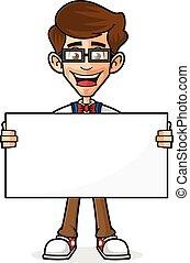 Nerd Guy Holding Blank Sign