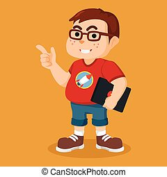 nerd holding laptop