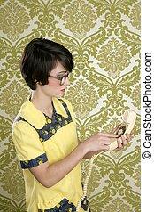 nerd housewife retro woman talking vintage phone