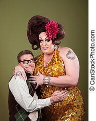 Nerd Hugs a Drag Queen - Nerd hugs a large large drag queen...
