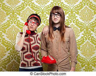 nerd humor couple talking vintage red phone - funny nerd...