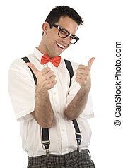 Nerd isolated on white - A young, caucasian nerd, with...