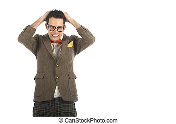 Nerd isolated on white - A young, caucasian nerd, worried,...