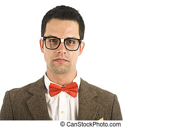 Nerd isolated on white - A young, caucasian nerd, isolated...