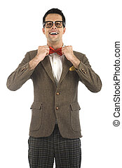 Nerd isolated on white - A young, caucasian nerd ajusting...
