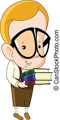 Nerd kid carrying books