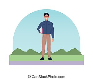 nerd man perfectly imperfect character icon vector illustration design