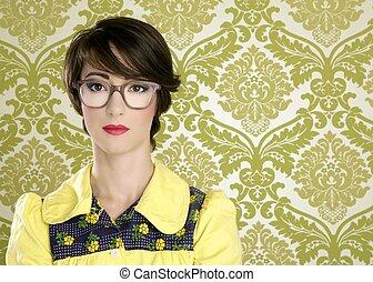 nerd, mulher, retro, retrato, 70s, vindima, dona de casa