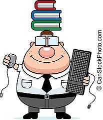 Nerd Multitask - A happy cartoon nerd multitasking with a...
