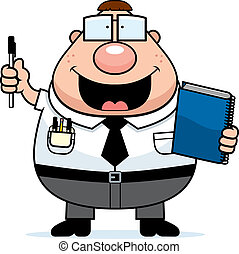 Nerd Notebook - A happy cartoon nerd with a notebook and...