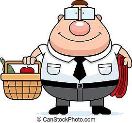 Nerd Picnic - A happy cartoon nerd with a picnic basket.