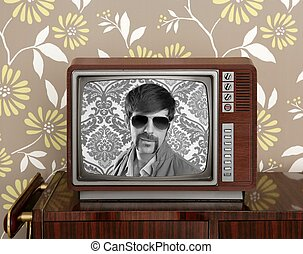 nerd retro 60s vintage wooden tv presenter - nerd retro 60s...