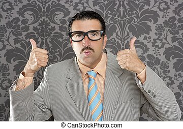 nerd retro man businessman ok positive hand gesture...