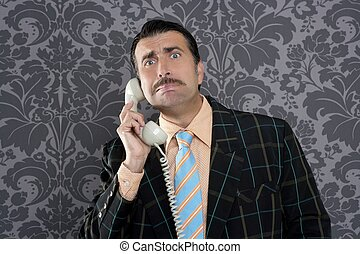 Nerd scared expression businessman telephone call mustache...