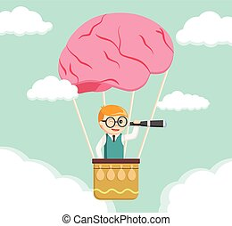 Nerd search form brain air ballon
