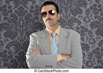 nerd serious proud businessman sunglasses portrait