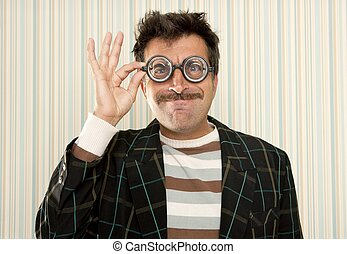 nerd silly crazy myopic glasses man funny gesture mustache...