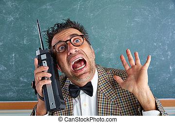Nerd silly private investigator retro walkie talkie