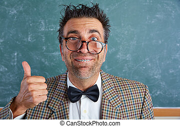 Nerd silly retro man with braces funny expression