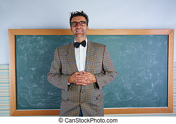 Nerd silly teacher vintage retro suit and braces on...