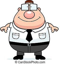 Nerd Smiling - A happy cartoon nerd standing and smiling.