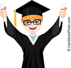 Happy red haired nerd student boy on graduation day holding two diplomas with both hands