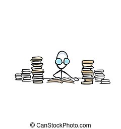Nerd studies in library. Man reading a book. Education books. Hand drawn. Stickman cartoon. Doodle sketch, Vector graphic illustration